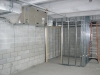 AHU air handling unit and metal stud partition wall for ADA compliant restroom
